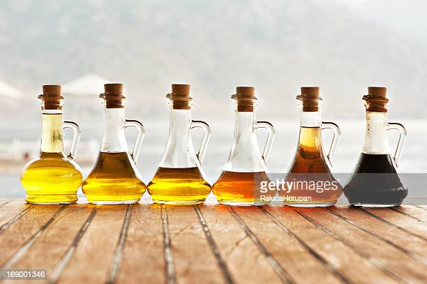 Olive oil and vinegar in bottles