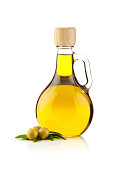 Olive Oil Bottle and Olives Isolated on White Background