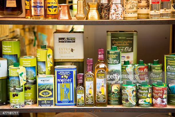 Olive oil on display at shop in Old Town