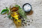 Olive oil, sea salt and herbs
