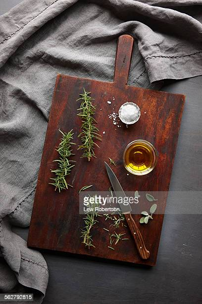 Olive oil, sea salt and herbs
