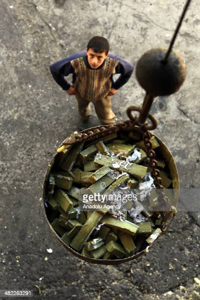 Olive oil soap produced with traditional ways in 5 months period in Gaziantep Turkey March 20 2014 Firstly oil produced from oppressed olive with...