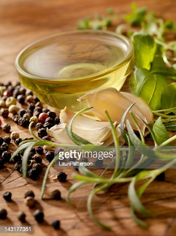 Olive Oil with Fresh Herbs : Stock Photo