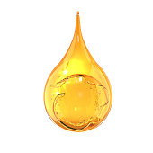 Olive or engine Oil drop isolate on white background, 3d illustration.