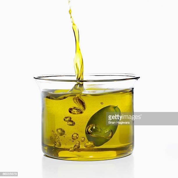 Olive soaking in olive oil