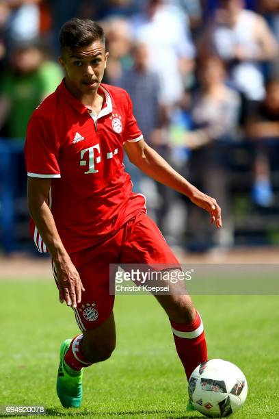 Oliver Batista Meier of Bayern runs with the ball during the B Juniors German Championship Semi Final match between FC Schalke and Bayern Muenchen at...