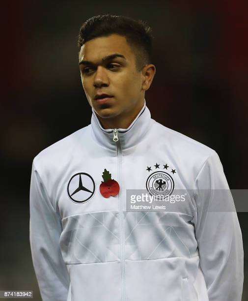 Oliver Batista Meier of Germany looks on during the International Match between England U17 and Germany U17 at The New York Stadium on November 14...