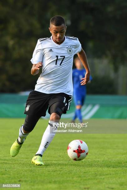 Oliver Batista Meier of Germany plays the ball during the Four Nations Tournament match between U17 Germany and U17 Italy at DonauWaldStadion on...