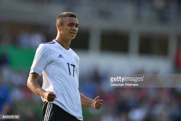 Oliver Batista Meier of Germany reacts to a missed shot during the Four Nations Tournament match between U17 Germany and U17 Italy at...