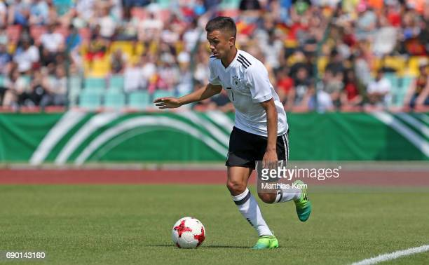 Oliver Batista Meier of Germany runs with the ball during the U16 international friendly match between Germany and France at Friedrich Ludwig Jahn...