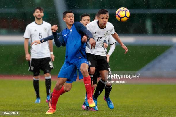 Oliver BatistaMeier of Germany U16 challenges Aimen Moueffek of France U16 during the UEFA Development Tournament Match between Germany U16 and...