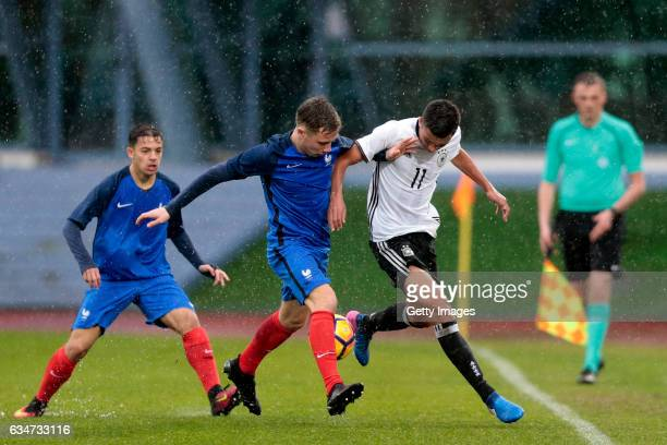 Oliver BatistaMeier of Germany U16 challenges Yann Godart of France U16 during the UEFA Development Tournament Match between Germany U16 and France...