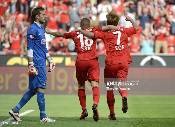 Oliver Baumann of Freiburg looks dejected after HeungMin Son is scoring his teams second goal during the Bundesliga match between Bayer 04 Leverkusen...