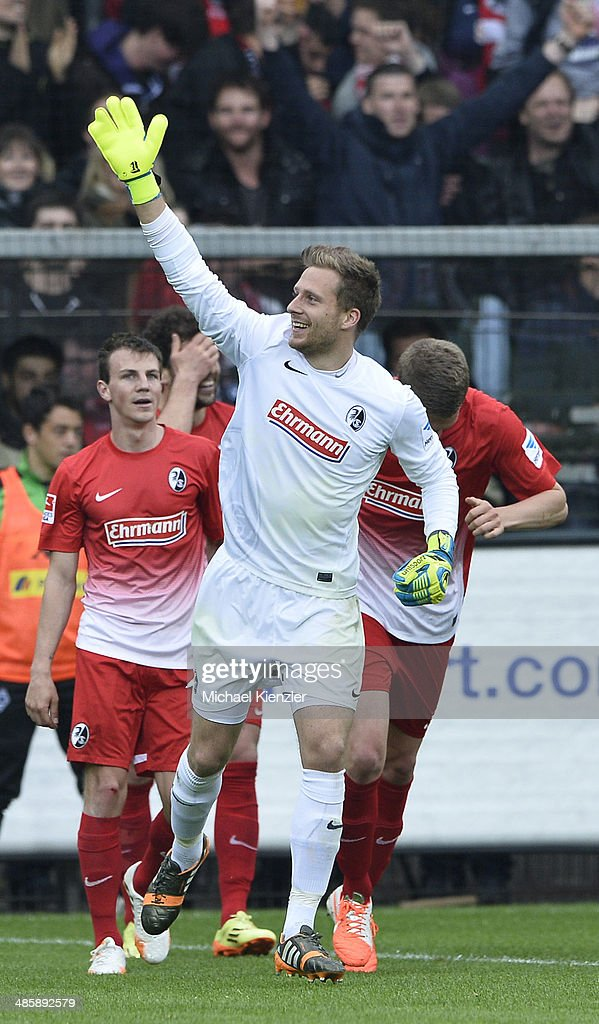 Oliver Baumann of Freiburg reacts after 4th goal for Freiburg during the Bundesliga match between SC Freiburg and Borussia Moenchengladbach at Mage Solar Stadium on April 19, 2014 in Freiburg, Germany.