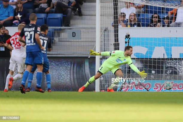Oliver Baumann of Hoffenheim can't save an own goal by Kevin Vogt of Hoffenheim to make it 22 during the Bundesliga match between TSG 1899 Hoffenheim...
