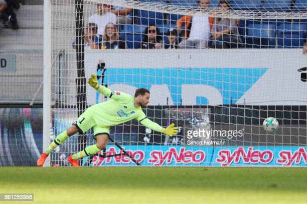 Oliver Baumann of Hoffenheim can't save an own goal by Kevin Vogt of Hoffenheim to make it 22 during the Bundesliga match between TSG 1899 Hoffenheim...