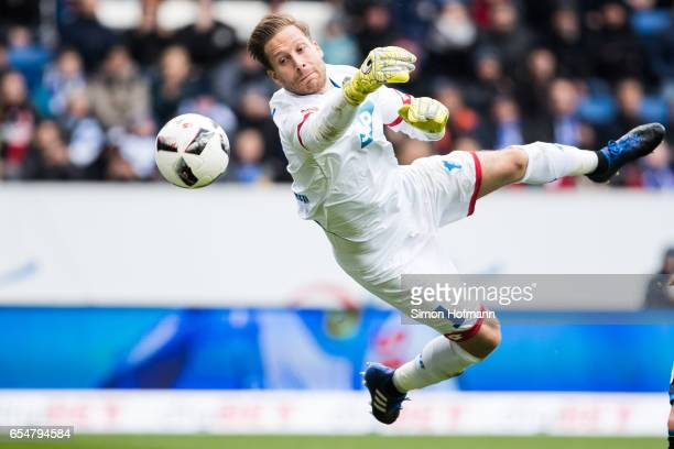Oliver Baumann of Hoffenheim makes a save during the Bundesliga match between TSG 1899 Hoffenheim and Bayer 04 Leverkusen at Wirsol RheinNeckarArena...
