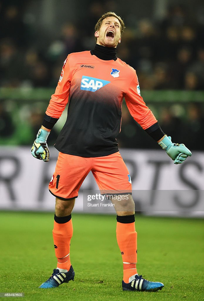 <a gi-track='captionPersonalityLinkClicked' href=/galleries/search?phrase=Oliver+Baumann&family=editorial&specificpeople=4645207 ng-click='$event.stopPropagation()'>Oliver Baumann</a> of Hoffenheim reacts during the Bundesliga match between VfL Wolfsburg and 1899 Hoffenheim at Volkswagen Arena on February 7, 2015 in Wolfsburg, Germany.
