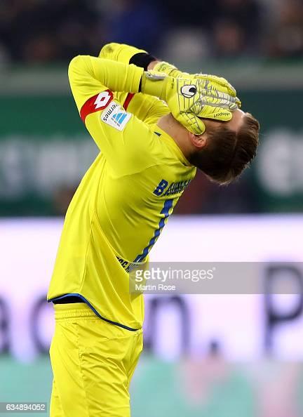 Oliver Baumann of Hoffenheim reacts during the Bundesliga match between VfL Wolfsburg and TSG 1899 Hoffenheim at Volkswagen Arena on February 12 2017...