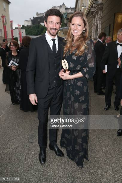 Oliver Berben and his wife Katrin Berben attend the 'Aida' premiere during the Salzburg Opera Festival 2017 on August 6 2017 in Salzburg Austria