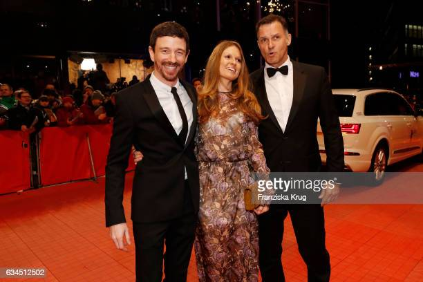 Oliver Berben his wife Katrin Berben and Heiko Kiesow attend the 'Django' premiere during the 67th Berlinale International Film Festival Berlin at...