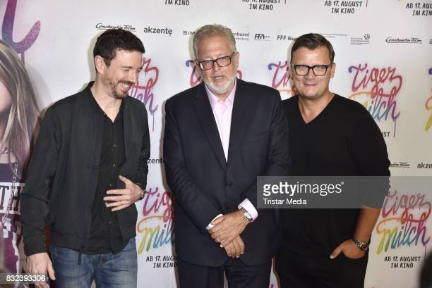 Oliver Berben Martin Moszkowicz and Thorsten Koch attend the 'Tigermilch' Premiere at Kino in der Kulturbrauerei on August 15 2017 in Berlin Germany