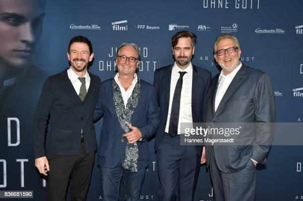 Oliver Berben Uli Aselmann Alain Gsponer and Martin Moszkowicz during the 'Jugend ohne Gott' premiere at Mathaeser Filmpalast on August 21 2017 in...