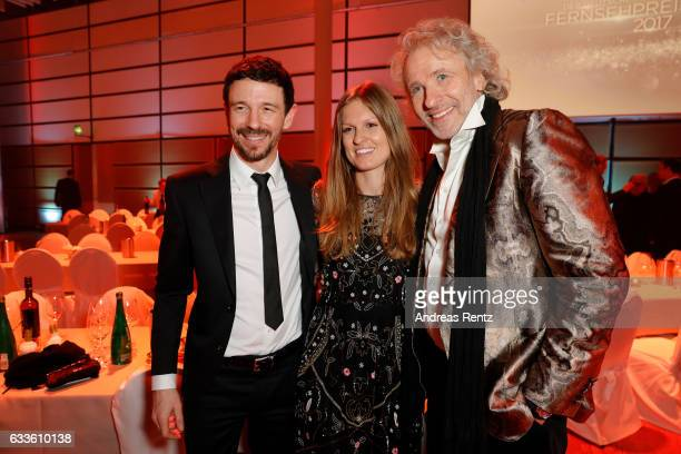 Oliver Berben with his wife Katrin Berben and Thomas Gottschalk attend the German Television Award at Rheinterrasse on February 2 2017 in Duesseldorf...