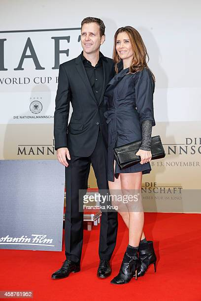 Oliver Bierhoff and his wife Klara Szalantzy attend the 'Die Mannschaft' Premiere at Sony Centre on November 10 2014 in Berlin Germany