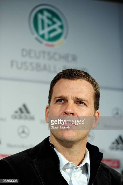 Oliver Bierhoff manager of Germany looks on during a press conference for the German national football team on March 2 2010 in Munich Germany