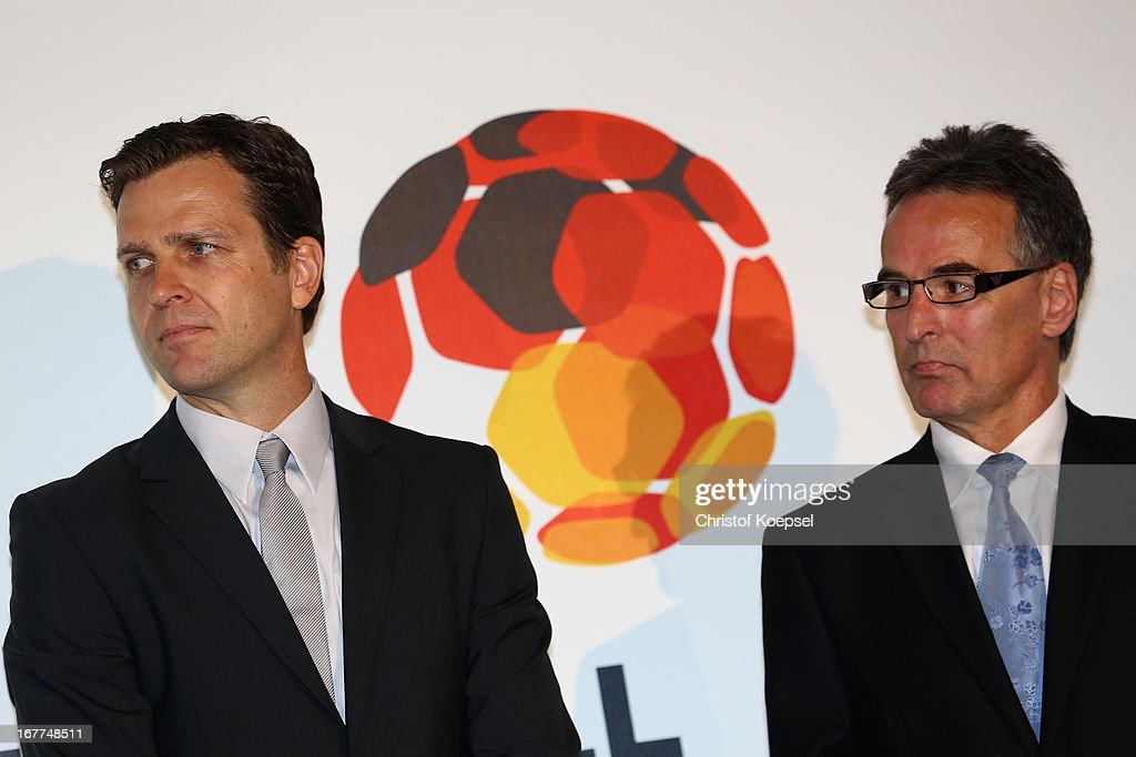 Oliver Bierhoff, manager of the German Football Association and Helmut Sandrock, general secretary of the German Football Association talk during the DFB Football Museum groundbreaking ceremony at Harenberg City Center on April 29, 2013 in Dortmund, Germany.