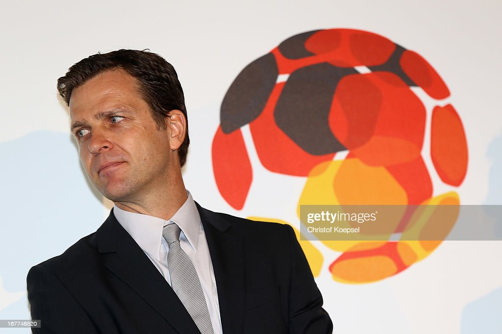 Oliver Bierhoff, manager of the German Football Association looks on during the DFB Football Museum groundbreaking ceremony at Harenberg City Center on April 29, 2013 in Dortmund, Germany.