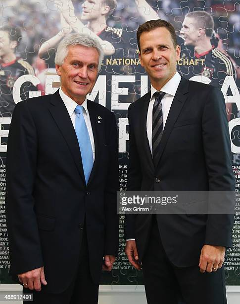 Oliver Bierhoff manager of the German national Football team poses with DFB Vice President Eugen Gehlenborg prior to a DFB Executive Board meeting at...