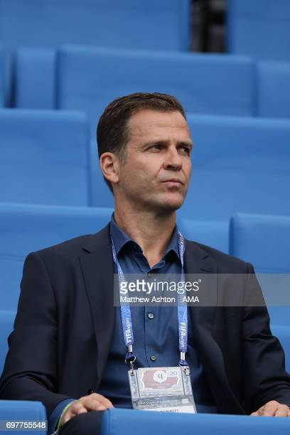 Oliver Bierhoff of Germany watches the FIFA Confederations Cup Russia 2017 Group B match between Australia and Germany at Fisht Olympic Stadium on...