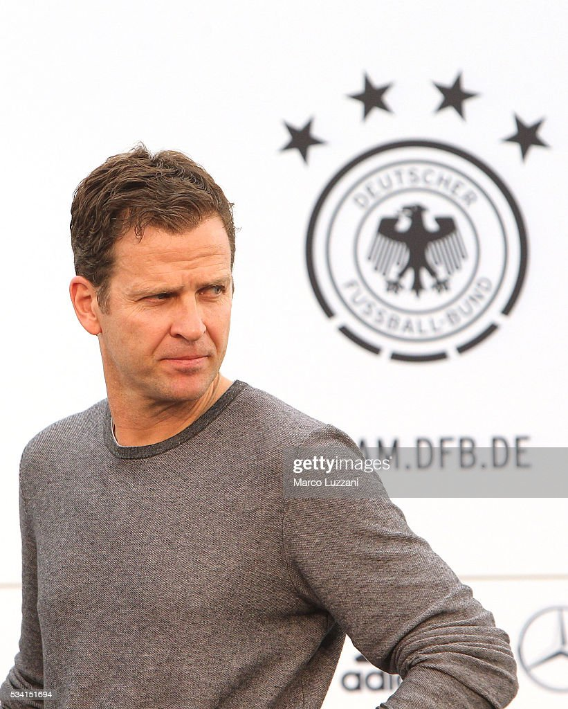 <a gi-track='captionPersonalityLinkClicked' href=/galleries/search?phrase=Oliver+Bierhoff&family=editorial&specificpeople=213661 ng-click='$event.stopPropagation()'>Oliver Bierhoff</a> officially opens the media center of the German national team's pre-EURO 2016 training camp on May 25, 2016 in Ascona, Switzerland.