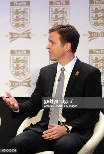 Oliver Bierhoff speaks during the FA Anniversary Celebrations Launch at the Grand Connaught Rooms London
