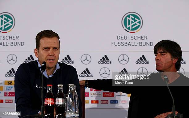 Oliver Bierhoff team manager of Germany and head coach Joachim Loew attend a Germany press conference ahead of their International Friendly match...