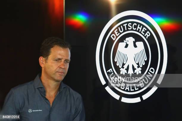 Oliver Bierhoff team manager of Germany arrives for a press conference of the German National team at MercedesBenzMuseum on August 30 2017 in...