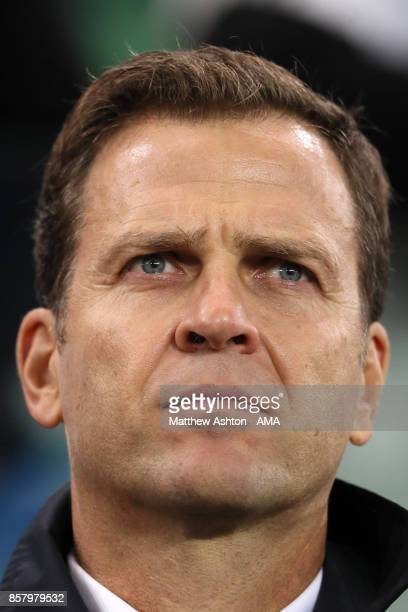 Oliver Bierhoff team manager of Germany looks on during the FIFA 2018 World Cup Qualifier between Northern Ireland and Germany at Windsor Park on...