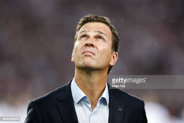 Oliver Bierhoff team manager of Germany looks on prior the FIFA 2018 World Cup Qualifier between Germany and Norway at MercedesBenz Arena on...