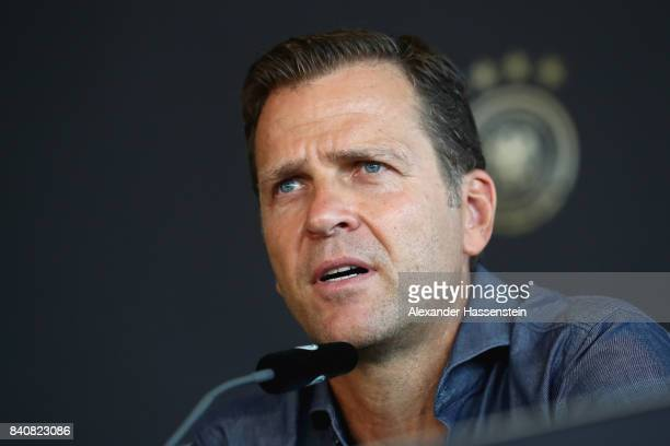 Oliver Bierhoff team manager of Germany talks to the media during a press conference of the German National team at MercedesBenzMuseum on August 30...