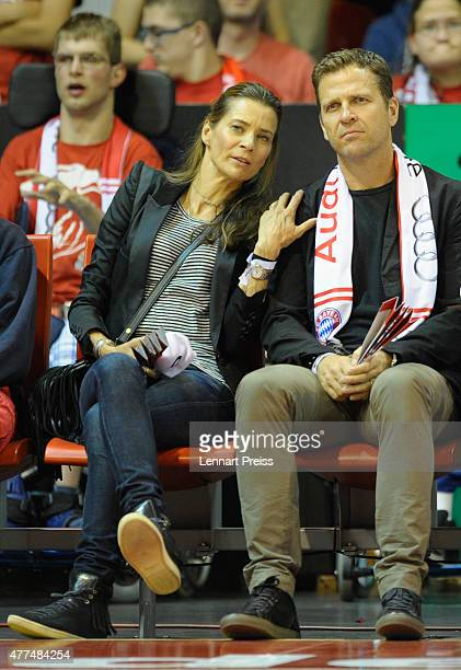 Oliver Bierhoff team manager of the German National Football Team and his wife Klara Szalantzy attend Game Four of the 2015 BBL Finals at AudiDome on...