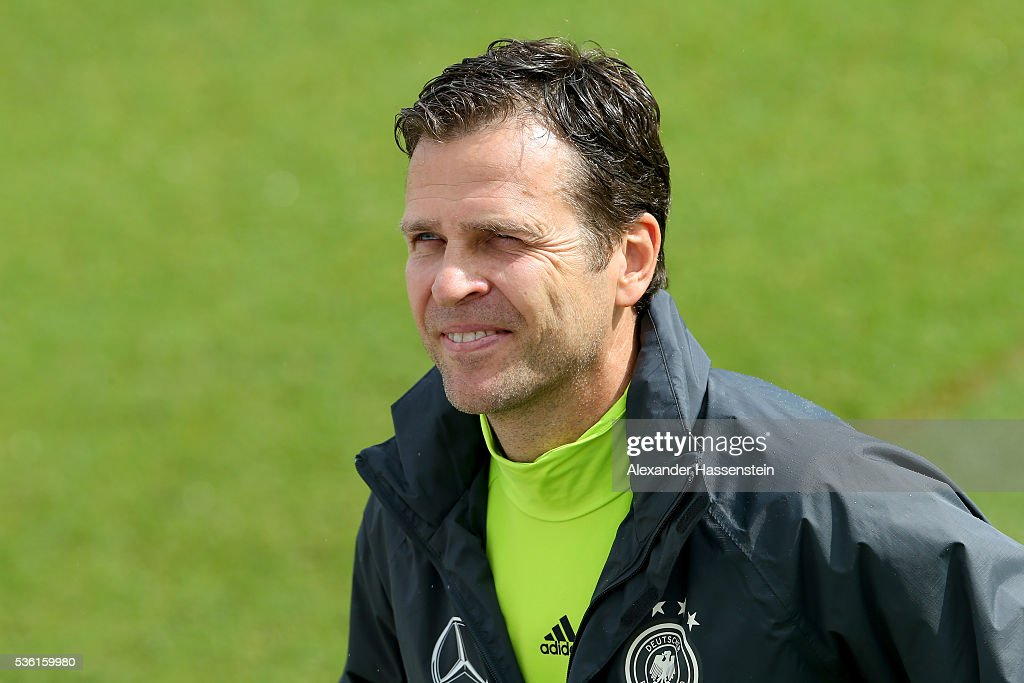 <a gi-track='captionPersonalityLinkClicked' href=/galleries/search?phrase=Oliver+Bierhoff&family=editorial&specificpeople=213661 ng-click='$event.stopPropagation()'>Oliver Bierhoff</a>, team manager of the German national team looks on during a training session at Stadio communale on day 8 of the German national team trainings camp on May 31, 2016 in Ascona, Switzerland.
