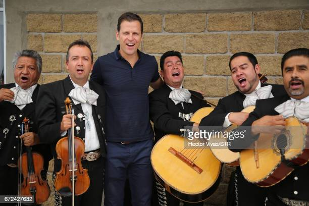 Oliver Bierhoff team manager of the German national team sing with mexican mariachis during the visit and unveiling of plaque for the economic...