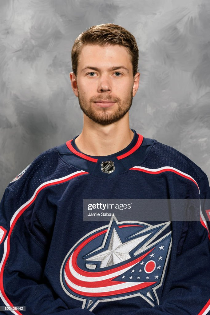 Oliver Bjorkstrand #28 of the Columbus Blue Jackets poses for his official headshot for the 2017-18 season on September 14, 2017 at Nationwide Arena in Columbus, Ohio.