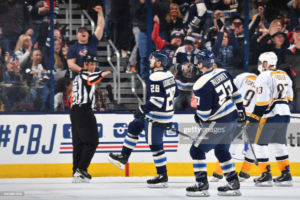 Oliver Bjorkstrand #28 of the Columbus Blue Jackets reacts after scoring a goal during the second period of a game against the Nashville Predators on February 19, 2017 at Nationwide Arena in Columbus, Ohio.