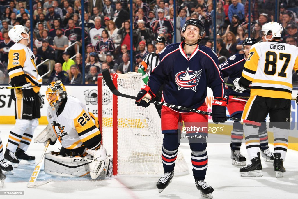 Oliver Bjorkstrand #28 of the Columbus Blue Jackets reacts following a play during the first period in Game Four of the Eastern Conference First Round against the Pittsburgh Penguins during the 2017 NHL Stanley Cup Playoffs on April 18, 2017 at Nationwide Arena in Columbus, Ohio.