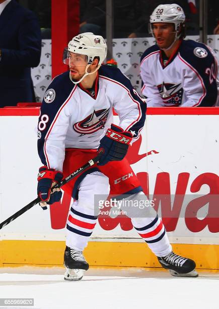 Oliver Bjorkstrand of the Columbus Blue Jackets skates against the New Jersey Devils during the game at Prudential Center on March 19 2017 in Newark...