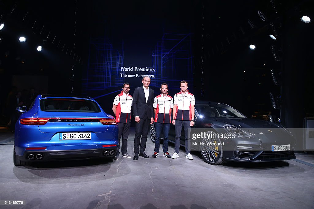 Oliver Blume (CEO Porsche AG) and the Le Mans winner 2016 (L-R) Neel Jani, <a gi-track='captionPersonalityLinkClicked' href=/galleries/search?phrase=Romain+Dumas&family=editorial&specificpeople=805197 ng-click='$event.stopPropagation()'>Romain Dumas</a>, <a gi-track='captionPersonalityLinkClicked' href=/galleries/search?phrase=Marc+Lieb&family=editorial&specificpeople=3199675 ng-click='$event.stopPropagation()'>Marc Lieb</a> attend the World Premiere Of New Porsche Panamera on June 28, 2016 in Berlin, Germany.