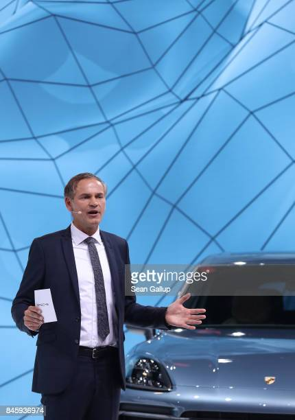 Oliver Blume CEO of Porsche presents the new Porsche Cayenne Turbo at the 2017 Frankfurt Auto Show on September 12 2017 in Frankfurt am Main Germany...